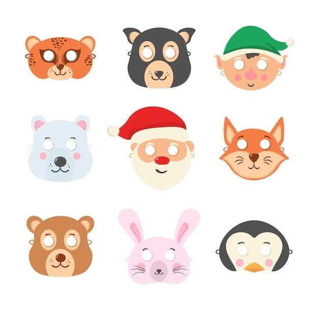 Set van diverse dierenmaskers op het gezicht