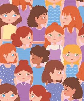 Set van diverse vrouwelijke personages