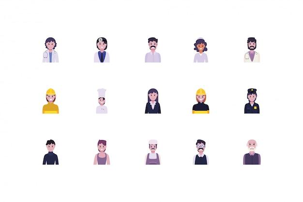 Set van diversiteit mensen en werknemers