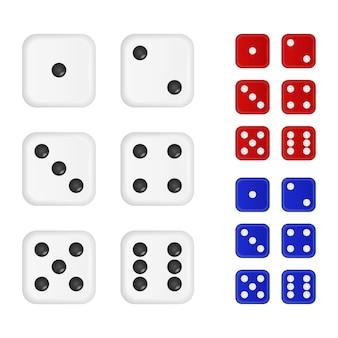 Set van dobbelstenen in drie kleuren - wit, rood, blauw