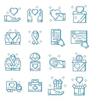 Set van doneren en goede doelen pictogrammen met kaderstijl