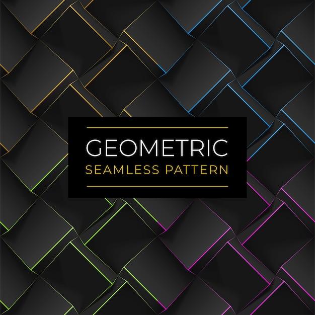 Set van donkere geometrische naadloze patronen. realistische kubussen met dunne lijnen.