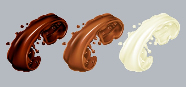 Set van donkere, melk en witte chocolade spatten. cacao lekkende crème realistische afbeelding. hyperrealisme. gieten druppel op grijze achtergrond