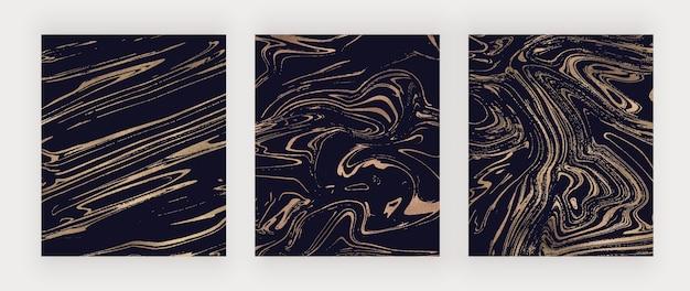 Set van donkere omslagen met gouden folie met vloeibare inkt
