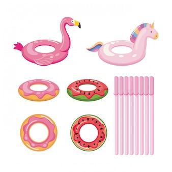 Set van donut, fruit en dieren. geïsoleerd