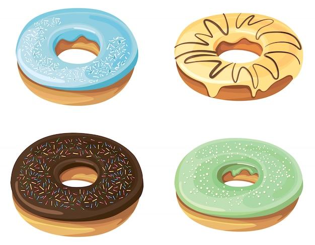 Set van donuts met verschillende vullingen.