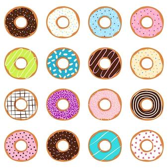 Set van donuts, vectorillustratie
