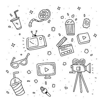 Set van doodle bioscoop. cinema doodle stijl
