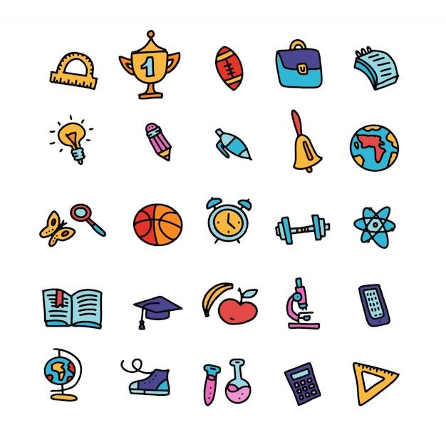 Set van doodle gekleurde school levert pictogrammen met lijnen, symbolen geïsoleerd.