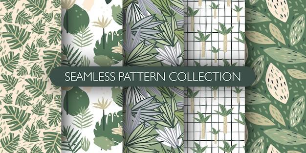 Set van doodle jungle exotische verlaat naadloze patroon. leuk tropisch blad eindeloos behang. botanische vectorillustratie