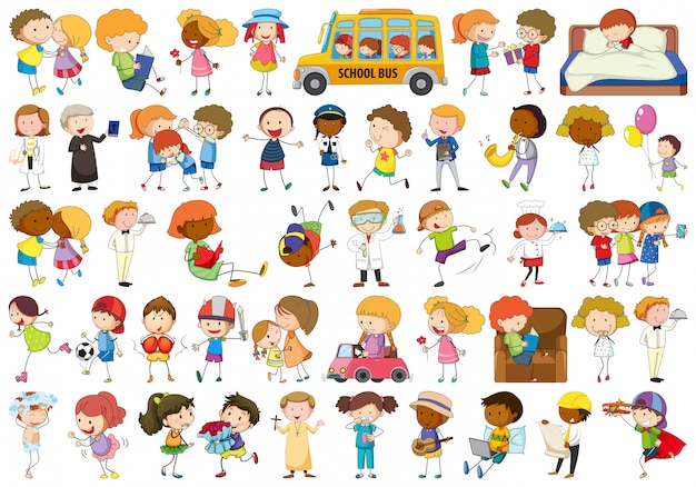 Set van doodle karakter