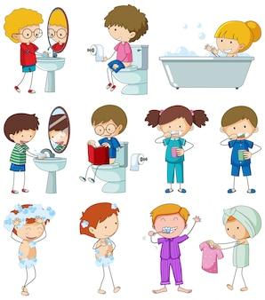 Set van doodle kind met dagelijkse routine