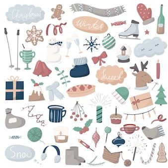 Set van doodle pictogrammen. cartoon winter- en kerstfoto's.