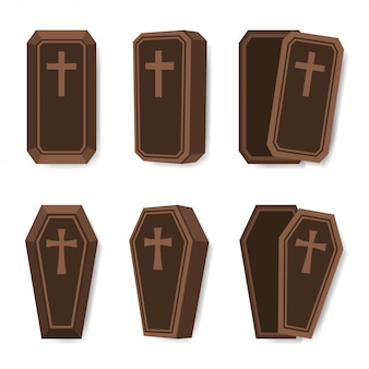 Set van doodskist met kruis