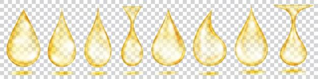 Set van doorschijnende waterdruppels in gele kleuren geïsoleerd op transparante achtergrond