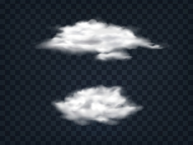 Set van doorschijnende witte wolken.