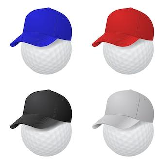 Set van dop op golfballen geïsoleerd