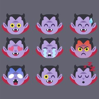 Set van dracula emoticon sticker geïsoleerd