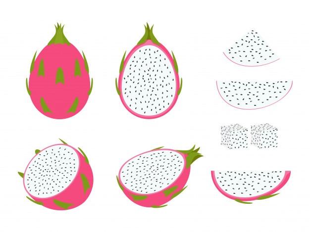 Set van dragon fruit geïsoleerd op witte achtergrond