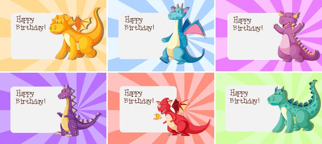 Set van dragon verjaardag sjabloon