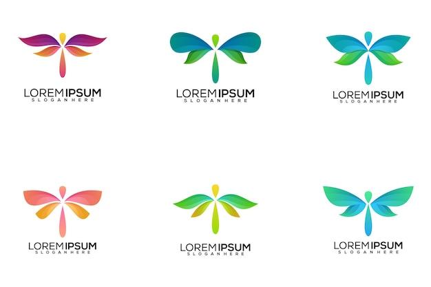 Set van dragonfly logo-ontwerp