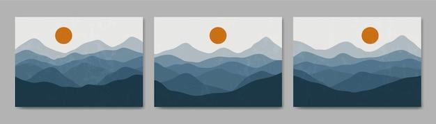 Set van drie abstracte esthetische halverwege de eeuw moderne landschap hedendaagse boho poster sjabloon