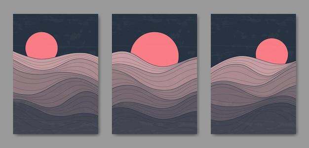 Set van drie abstracte esthetische halverwege de eeuw moderne landschapslijn hedendaagse boho poster voorbladsjabloon.