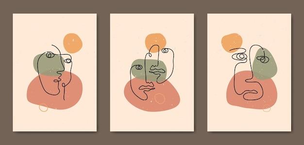 Set van drie abstracte esthetische halverwege de eeuw moderne lijntekeningen gezicht hedendaagse boho poster sjabloon