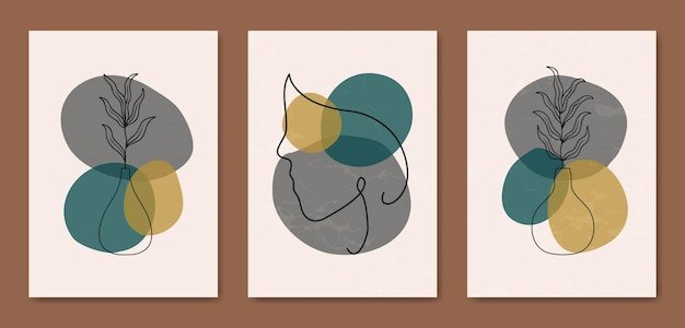 Set van drie abstracte esthetische halverwege de eeuw moderne lijntekeningen gezicht portret en bladeren hedendaagse boho poster voorbladsjabloon.