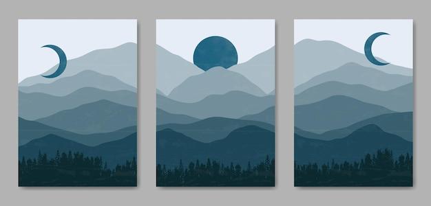 Set van drie abstracte esthetische midden van de eeuw moderne landschap hedendaagse boho poster voorbladsjabloon.