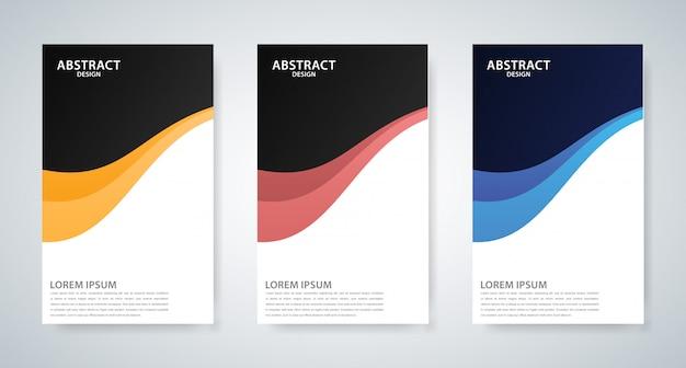 Set van drie abstracte golfomslagontwerpen
