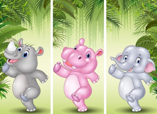 Set van drie afrikaanse dieren