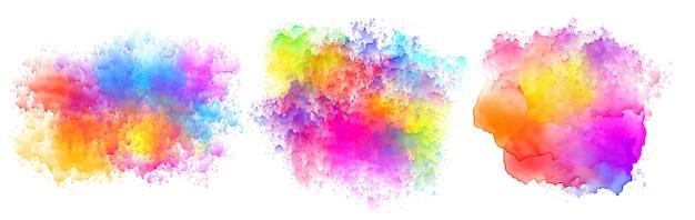 Set van drie aquarel splatter vlekken ontwerp