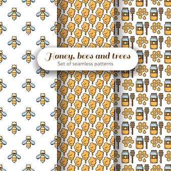 Set van drie bijen en honing thema's naadloze patronen