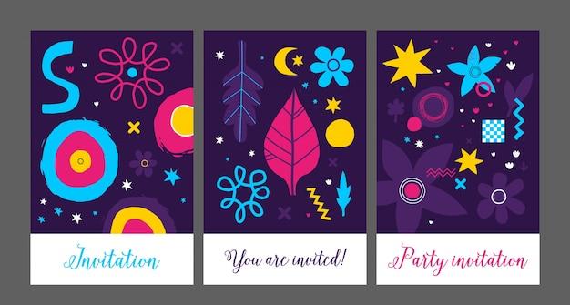 Set van drie creatieve achtergronden sjablonen met abstracte hand getrokken elementen.