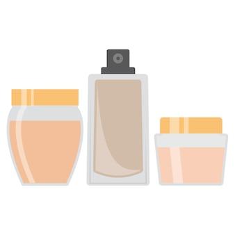 Set van drie crèmes voor de huid. vector illustratie.