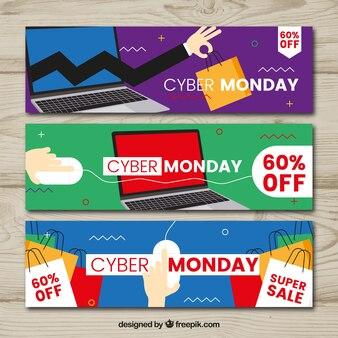 Set van drie cyber maandag banners