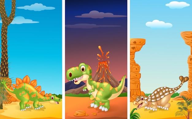 Set van drie dinosaurussen met prehistorische achtergrond