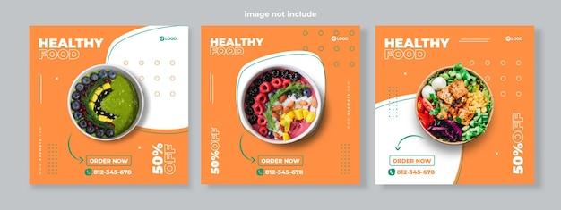 Set van drie eenvoudige memphis achtergrond van gezonde voeding promotie banner sociale media pack sjabloon premium vector