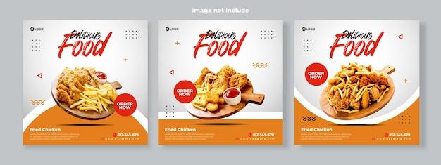 Set van drie eenvoudige schone achtergrond van gefrituurde kip promotie banner sociale media pack sjabloon premium vector
