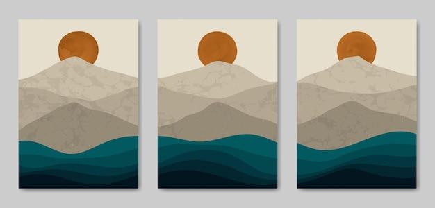 Set van drie esthetische mid-century modern landschap contemporary boho poster voorbladsjabloon