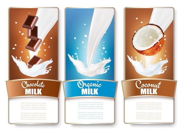 Set van drie etiketten van chocolade en kokosmelk spatten.