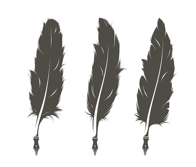 Set van drie geïsoleerde veren om op te schrijven