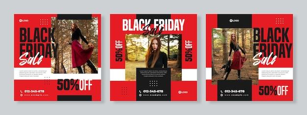 Set van drie geometrische banners van black friday sale social media pack-sjabloon