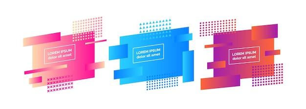 Set van drie geometrische kleurrijke abstracte badges. moderne grafisch element. trendy dynamisch verloop minimaal ontwerp. vector illustratie