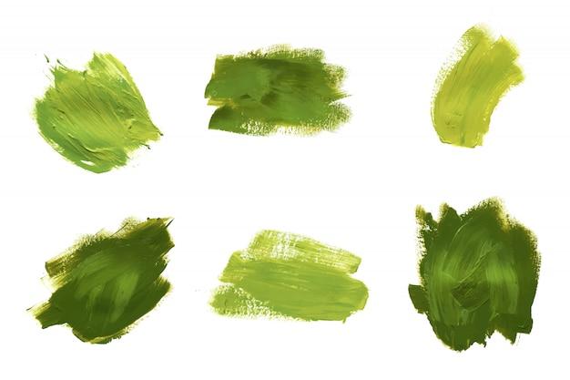 Set van drie groene olie- of acrylverf