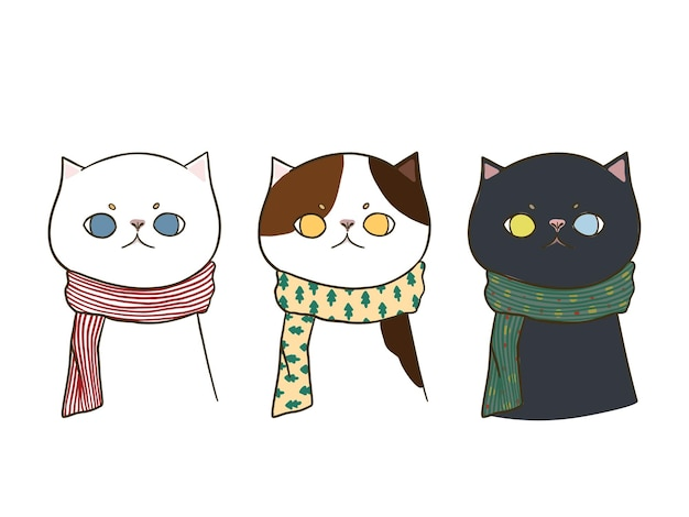Set van drie hand getrokken doodle schattige katten die een sjaal dragen, geïsoleerd op een witte achtergrond.