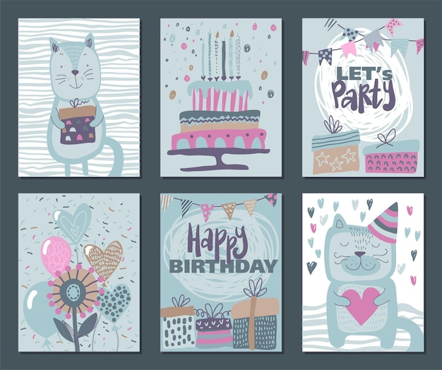 Set van drie happy birthday party-kaarten