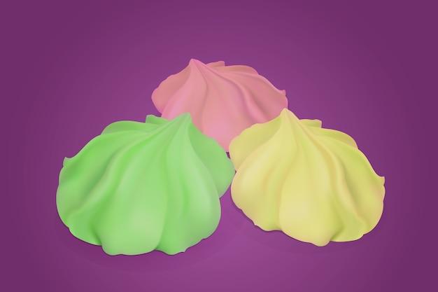 Set van drie heldere heerlijke meringue