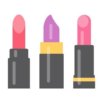 Set van drie heldere lippenstiften. vector illustratie.